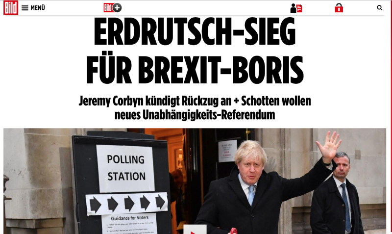 'Landslide victory for Brexit-Boris'. The headline on Bild tabloid daily on 13 December 2019. Credit: Bild