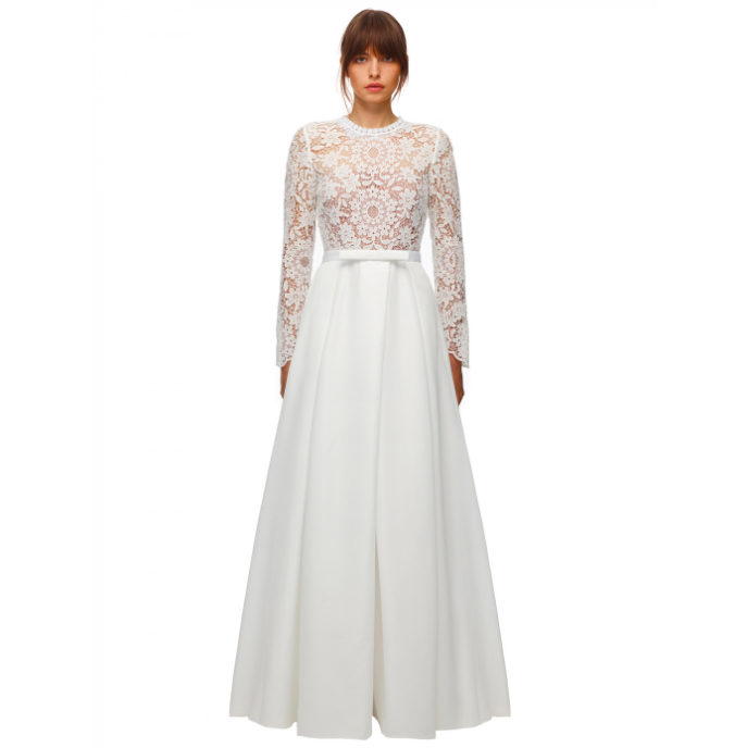 """<p><a class=""""link rapid-noclick-resp"""" href=""""https://www.self-portrait-studio.com/guipure-lace-taffeta-maxi-dress"""" rel=""""nofollow noopener"""" target=""""_blank"""" data-ylk=""""slk:SHOP NOW"""">SHOP NOW</a></p><p>Feminine and flattering, this Self-Portrait dress features a structured skirt, detailed lace top and a playful bow to cinch the waist in.</p><p>Guipure Lace & Taffeta Maxi Dress, £420, <a href=""""https://www.self-portrait-studio.com/guipure-lace-taffeta-maxi-dress"""" rel=""""nofollow noopener"""" target=""""_blank"""" data-ylk=""""slk:Self-Portrait"""" class=""""link rapid-noclick-resp"""">Self-Portrait</a></p>"""