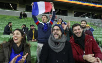 French supporters celebrate after the second rugby test between France and Australia in Melbourne, Australia, Tuesday, July 13, 2021. France defeated Australia 28-26. (AP Photo/Asanka Brendon Ratnayake)