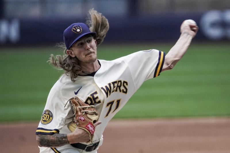 Milwaukee Brewers' Josh Hader throws during a practice session Saturday, July 4, 2020, at Miller Park in Milwaukee. (AP Photo/Morry Gash)