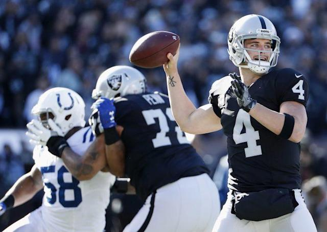 Derek Carr was taken off due to a leg injury against the Colts. (AP)
