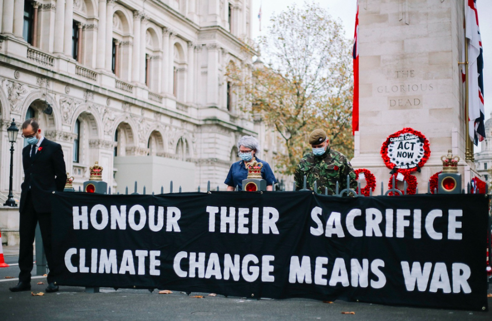Extinction Rebellion protesters laid a wreath about climate change at the Cenotaph on Remembrance Day. (PA)