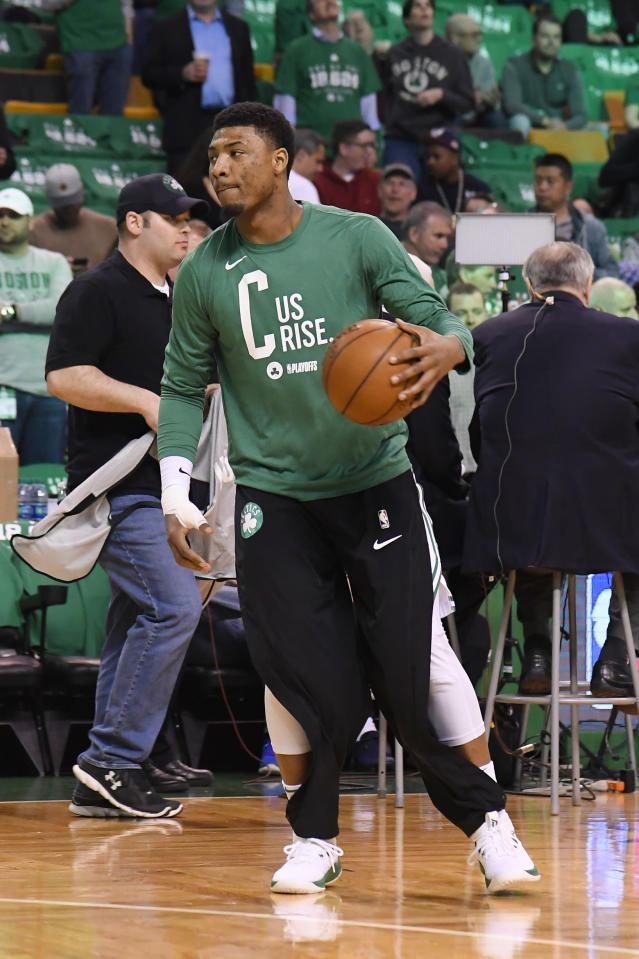 BOSTON, MA - APRIL 24: Marcus Smart #36 of the Boston Celtics warms up prior to Game Five of Round One of the 2018 NBA Playoffs against the Milwaukee Bucks on April 24, 2018 at the TD Garden in Boston, Massachusetts. (Photo by Brian Babineau/NBAE via Getty Images)