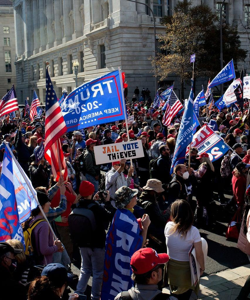 WASHINGTON, D.C. – NOVEMBER 14: Tens of thousands of Trump supporters rally and march to declare the 2020 Presidential election results a fraud and the true winner to be President Trump, on November 14, 2020 in downtown Washington, D.C. (Photo by Andrew Lichtenstein/Corbis via Getty Images)