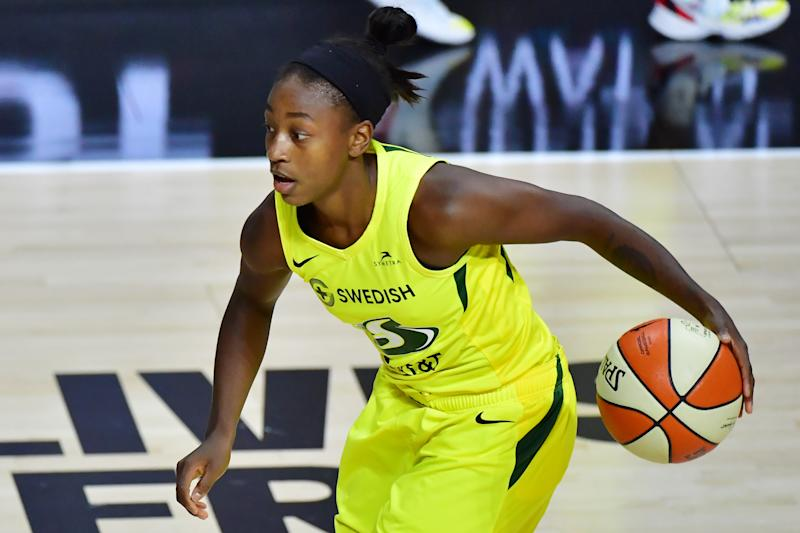 PALMETTO, FLORIDA - SEPTEMBER 22: Jewell Loyd #24 of the Seattle Storm dribbles during the first half of Game One of their Third Round playoff against the Minnesota Lynx at Feld Entertainment Center on September 22, 2020 in Palmetto, Florida. NOTE TO USER: User expressly acknowledges and agrees that, by downloading and or using this photograph, User is consenting to the terms and conditions of the Getty Images License Agreement. (Photo by Julio Aguilar/Getty Images)