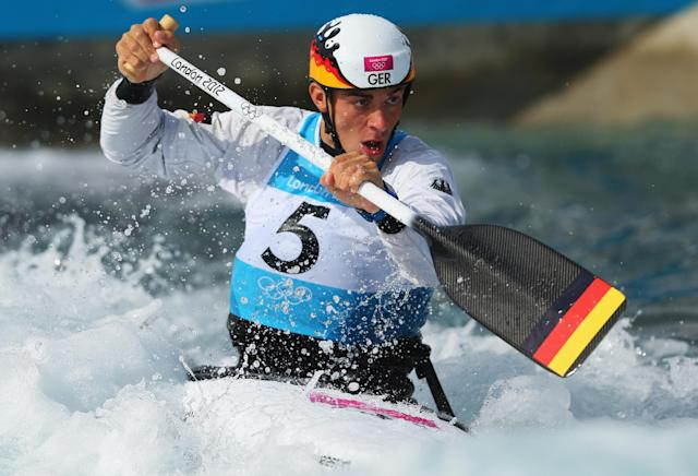 LONDON, ENGLAND - JULY 29: Sideris Tasiadis of Germany competes during the Men's Canoe Single (C1) Slalom heats on Day 2 of the London 2012 Olympic Games at Lee Valley White Water Centre on July 29, 2012 in London, England. (Photo by Phil Walter/Getty Images)