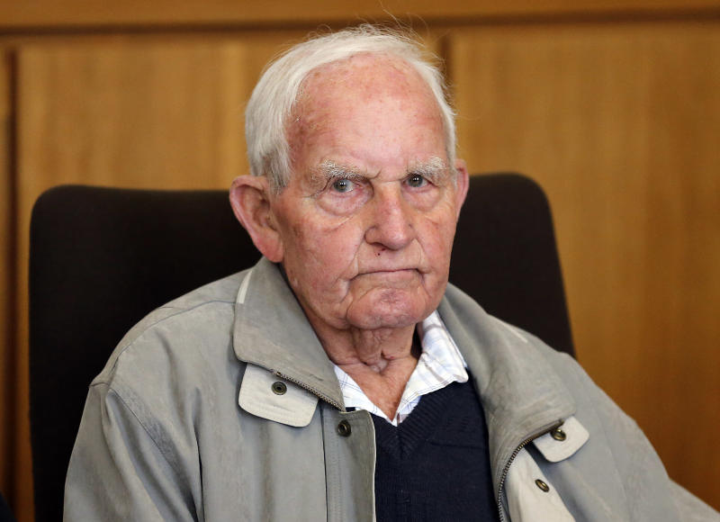 Siert Bruins , 92-year-old former member of the Nazi Waffen SS, sits in the courtroom of the court in Hagen, Germany, Monday, Sept. 2, 2013. Dutch-born Siert Bruins, who is now a German, is on trial on allegations he executed a Dutch resistance fighter in 1944. Bruins, who volunteered for the SS after the Nazis took the Netherlands in 1941, already served time in Germany in the 1980s after being found guilty in the wartime killing of two Dutch Jews. (AP Photo/Frank Augstein)