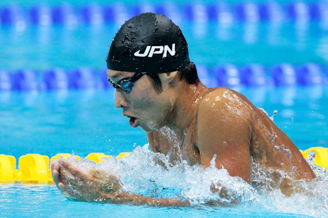LONDON, ENGLAND - JULY 28: Kosuke Hagino of Japan swims breaststroke as he competes in heat three of the Men's 400m Individual Medley on Day One of the London 2012 Olympic Games at the Aquatics Centre on July 28, 2012 in London, England. (Photo by Adam Pretty/Getty Images)