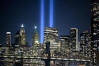 The New York skyline with the 'Tribute in Light' installation commemorating the 9/11 attacks on their 20th anniversary (AFP/Ed JONES)