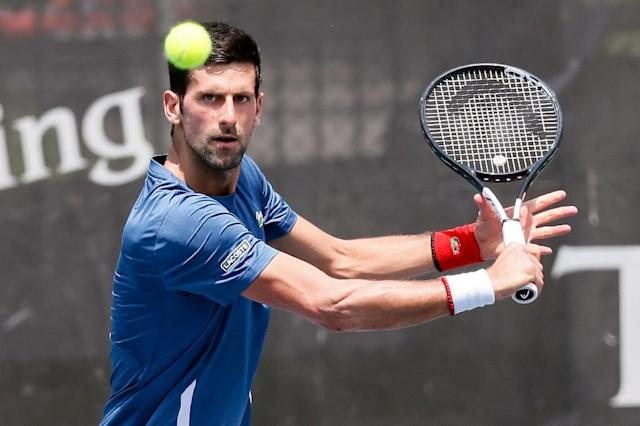 Novak Djokovic training for Wimbledon in Belgrade (AFP Photo/Pedja MILOSAVLJEVIC)
