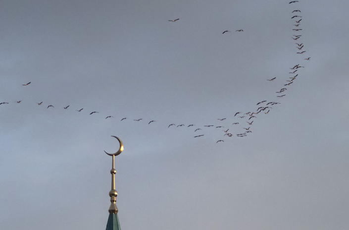 Geese fly over the Kul Sharif Mosque during the Eid al Fitr prayer in Kazan, Russia, Thursday, May 13, 2021. Millions of Muslims across the world are celebrating the Eid al Fitr holiday, which marks the end of the month-long fast of Ramadan. (AP Photo/Dmitri Lovetsky)