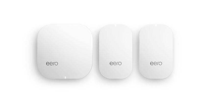 Three eero home networking devices.