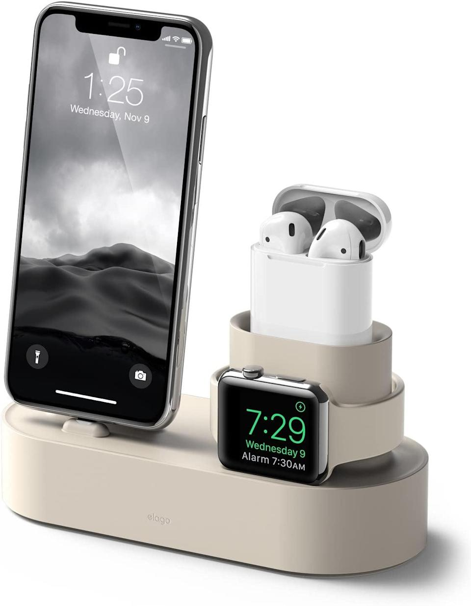 <p>They can charge their phone, watch, and AirPods all at once with this helpful <span>Elago Charging Hub</span> ($27, originally $30). The minimal look is so chic for a nightstand.</p>