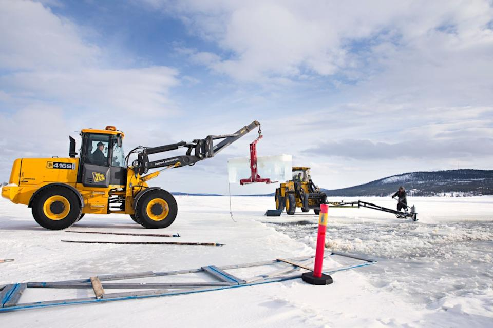 <p>Ice being harvested for the Icehotel</p>Asaf Kliger