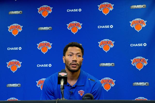 "He had an idea it was coming, but Derrick Rose still wasn't ready for his trade to the <a class=""link rapid-noclick-resp"" href=""/nba/teams/new-york/"" data-ylk=""slk:Knicks"">Knicks</a>. (AP Photo/Mary Altaffer)"