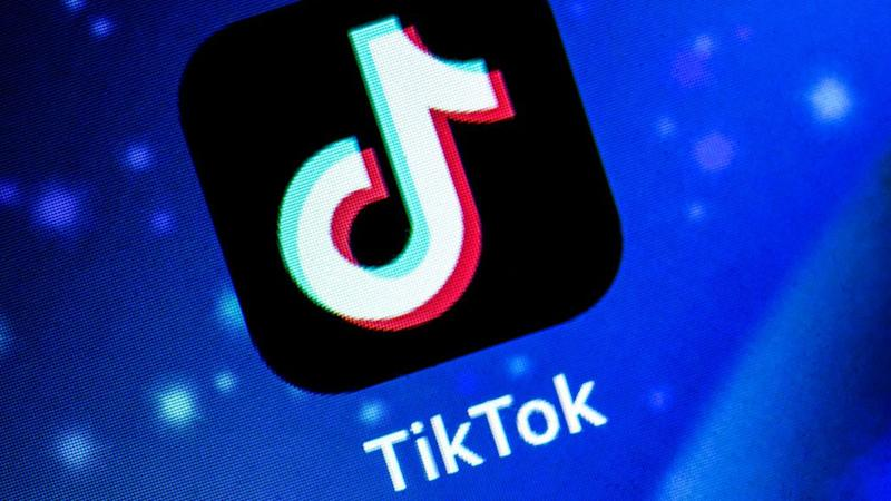 TikTok logo on screen.