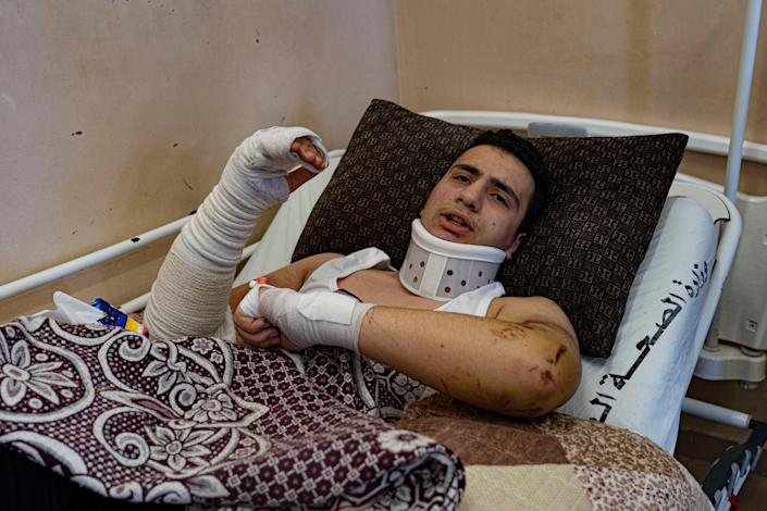 Omar Abu al-Auf recovers in hospital after losing his entire family (Bel Trew)
