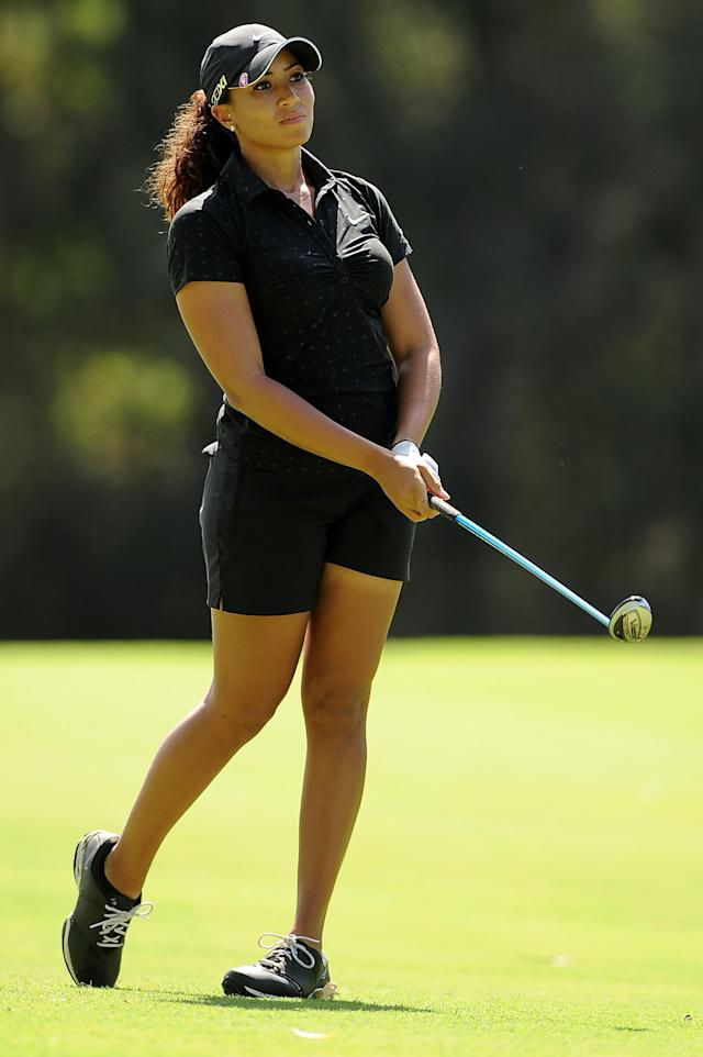 GOLD COAST, AUSTRALIA - FEBRUARY 02: Cheyenne Woods of the United States looks on after her shot on the 15th hole during the Australian Ladies Masters at Royal Pines Resort on February 2, 2013 on the Gold Coast, Australia. (Photo by Matt Roberts/Getty Images)