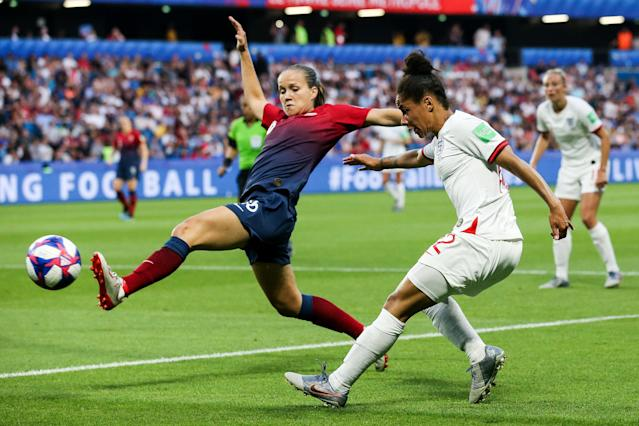 Cecilie Fiskerstrand of England pass the ball during the 2019 FIFA Women's World Cup France Quarter Final match between Norway and England at Stade Oceane on June 27, 2019 in Le Havre, France. (Photo by Zhizhao Wu/Getty Images)