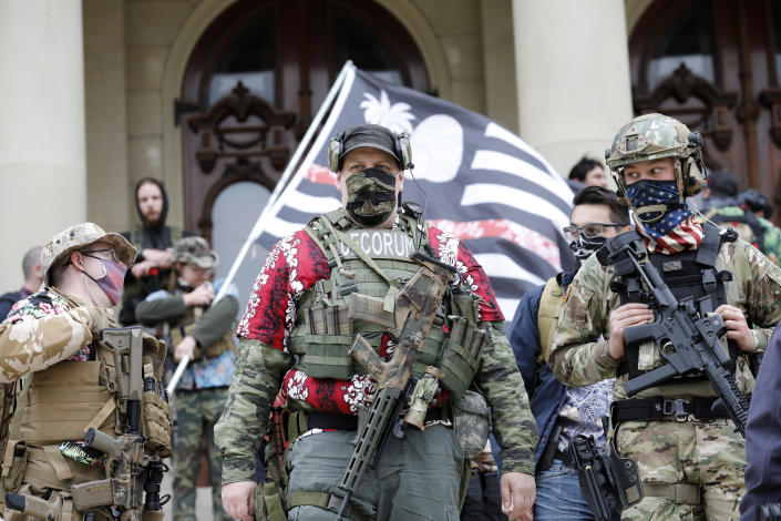 A group tied to the Boogaloo Bois holds a rally at the Michigan State Capitol in Lansing, Michigan on October 17, 2020. (Jeff Kowalsky/AFP via Getty Images)
