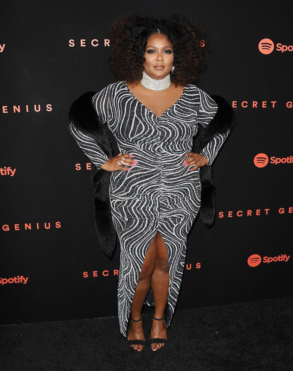 <p>At Spotify's inaugural Secret Genius Awards, Lizzo wore a black and white graphic dress with a thick crystal choker. <br></p>