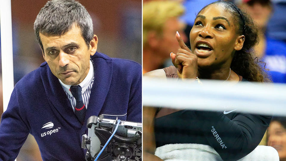 Carlos Ramos and Serena Williams, pictured here during their clash in the 2018 US Open final.