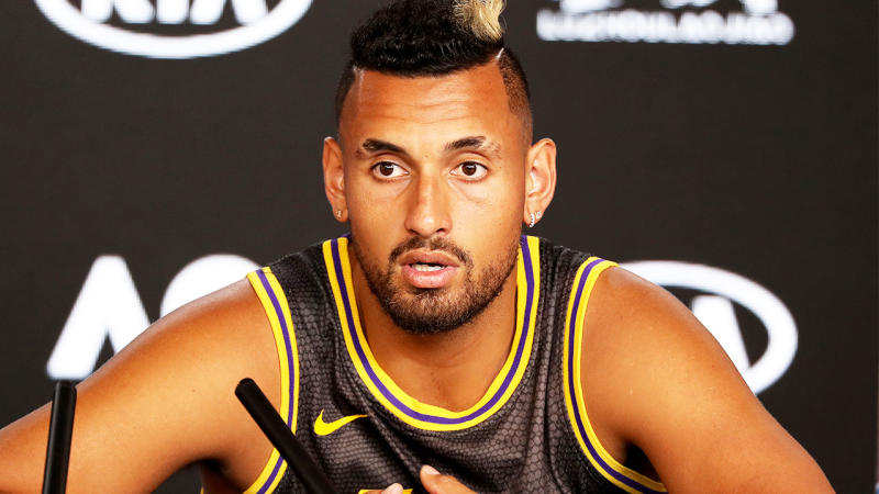 Nick Kyrgios of Australia speaks at his post match press conference.