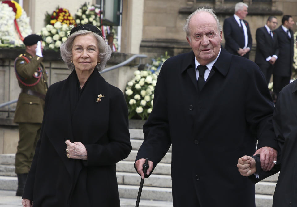 LUXEMBOURG, LUXEMBOURG - MAY 4: Juan Carlos I of Spain and Queen Sofia of Spain leave the funerals of Grand Duke Jean of Luxembourg at Cathedrale Notre-Dame on May 4, 2019 in Luxembourg, Luxembourg. (Photo by Jean Catuffe/Getty Images)