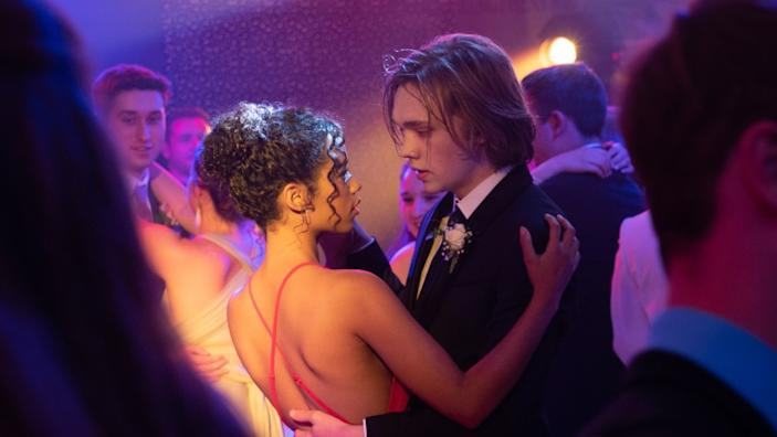 """Taylor Russell, left, and Charlie Plummer in the movie """"Words on Bathroom Walls."""" <span class=""""copyright"""">(Jacob Yakob / LD Entertainment / Roadside Attractions)</span>"""