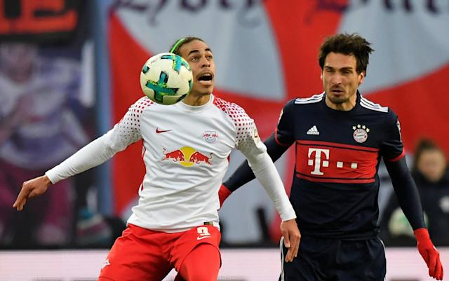 Soccer Football - Bundesliga - RB Leipzig vs Bayern Munich - Red Bull Arena, Leipzig, Germany - March 18, 2018 RB Leipzig's Yussuf Poulsen in action with Bayern Munich's Mats Hummels REUTERS/Matthias Rietschel DFL RULES TO LIMIT THE ONLINE USAGE DURING MATCH TIME TO 15 PICTURES PER GAME. IMAGE SEQUENCES TO SIMULATE VIDEO IS NOT ALLOWED AT ANY TIME. FOR FURTHER QUERIES PLEASE CONTACT DFL DIRECTLY AT + 49 69 650050