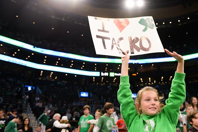 BOSTON, MA - OCTOBER 13: A young fan holds up a sign showing support for Tacko Fall #99 of the Boston Celtics prior to the start of the game against the Cleveland Cavaliers at TD Garden on October 13, 2019 in Boston, Massachusetts. NOTE TO USER: User expressly acknowledges and agrees that, by downloading and or using this photograph, User is consenting to the terms and conditions of the Getty Images License Agreement. (Photo by Kathryn Riley/Getty Images)