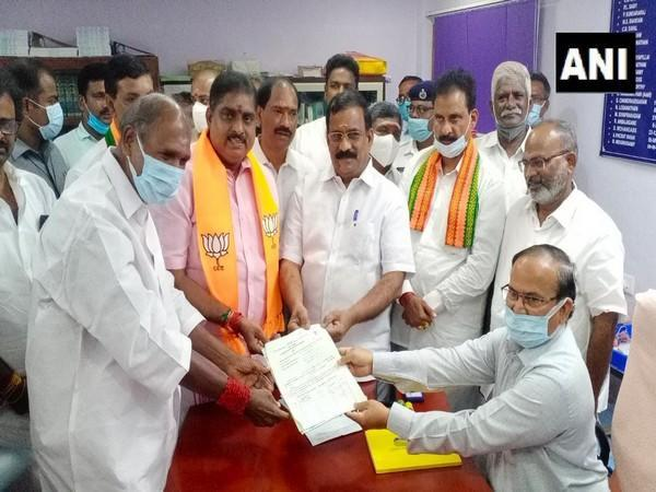 BJP candidate S Selvaganapathy filing nomination for the Rajya Sabha seat from Puducherry. (Photo/ANI)