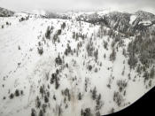 This aerial photo provided by Gallatin National Forest Avalanche Center shows the top half of an avalanche in the Gallatin National Forest, Mont. on Sunday, Feb. 14, 2021. A backcountry skier Craig Kitto, 45, of Bozeman, suffered fatal injuries when the Gallatin National Forest slope he and a companion were climbing cracked without warning, collapsed and swept him downhill into a tree. The other person wasn't hurt. (Gallatin National Forest Avalanche Center via AP)