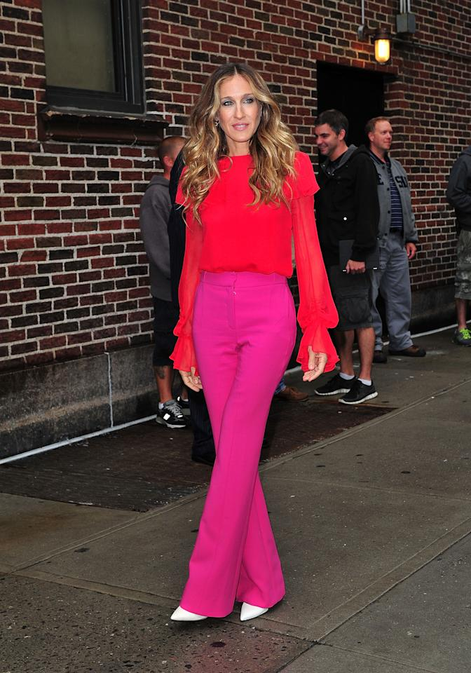 """<p>Sarah Jessica Parker is known for having great style. In 2011 the actress and producer appeared wore the trend to an appearance on the """"Tonight Show with David Letterman."""" </p>"""