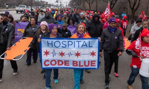'We can't afford healthcare': US hospital workers fight for higher wages