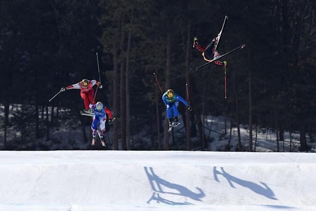 Christopher Del Bosco suffered a brutal crash while competing men's ski cross. (Getty Images)