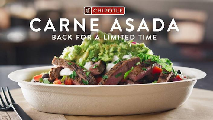 Carne asada will return to Chipotle restaurants Sept. 28.