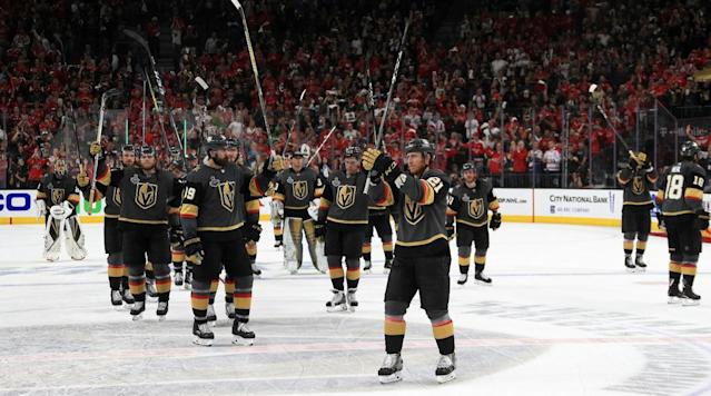 "Though the didn't end the season raising the Stanley Cup, what the <a class=""link rapid-noclick-resp"" href=""/nhl/teams/vgk"" data-ylk=""slk:Golden Knights"">Golden Knights</a> accomplished this season was nothing short of impressive. (Getty)"