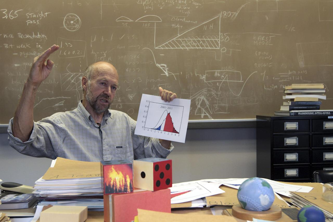 In this Thursday, Aug. 2 2012 photo, Dr. James E. Hansen head of the NASA Goddard Institute for Space Studies gestures during an interview with the Associated Press at his office in New York. (AP Photo/Mary Altaffer)