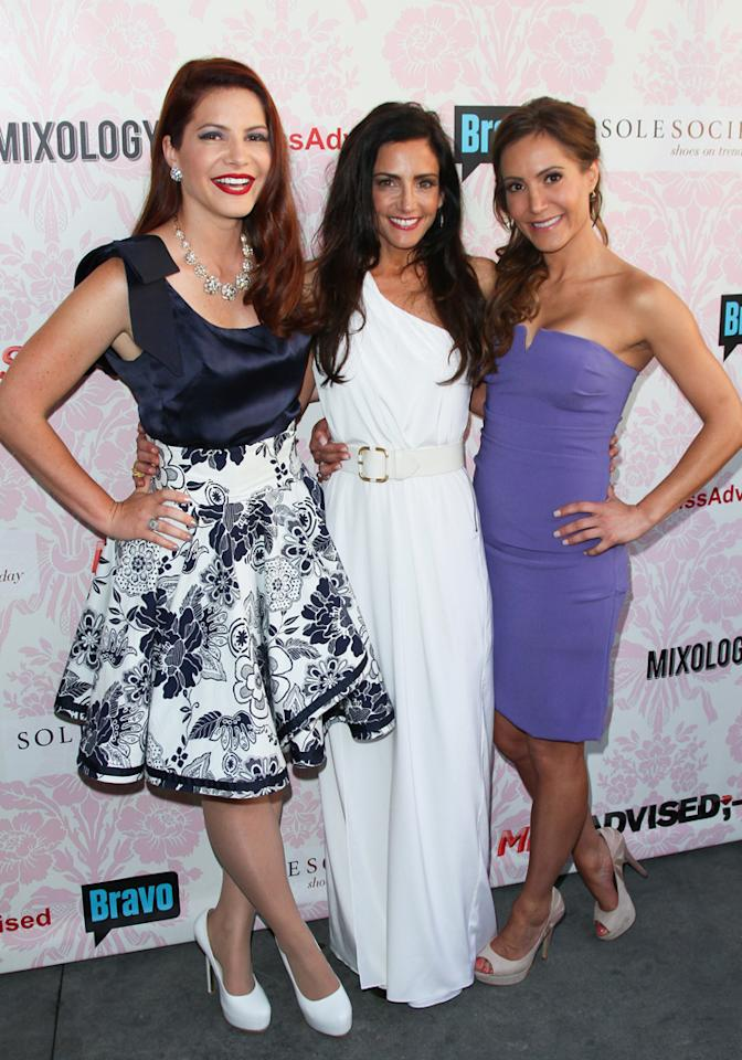"""Julia Allison, Emily Morse, and Amy Laurent attend the viewing party for Bravo's new series """"Miss Advised"""" at the Planet Dailies & Mixology 101 on June 18, 2012 in Los Angeles, California."""