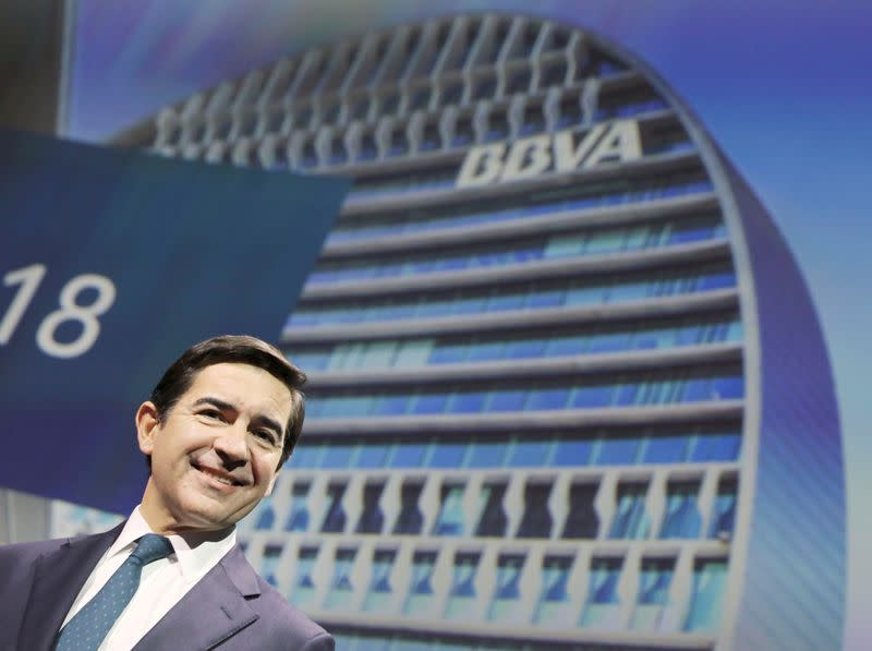 FILE PHOTO: Spanish bank BBVA's chairman Torres poses before the annual results presentation in Madrid