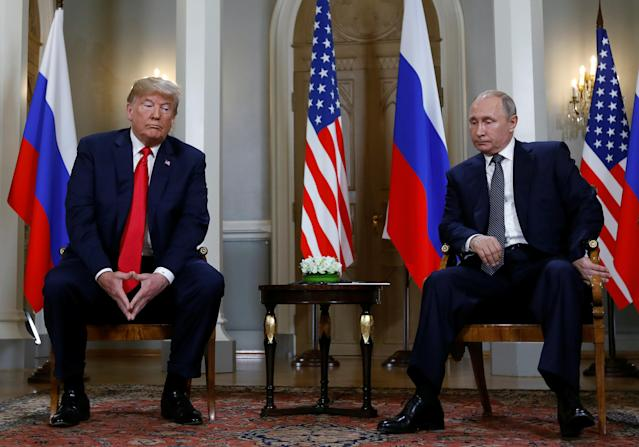 <p>U.S. President Donald Trump meets with Russian President Vladimir Putin in Helsinki, Finland, July 16, 2018. (Photo: Kevin Lamarque/Reuters) </p>