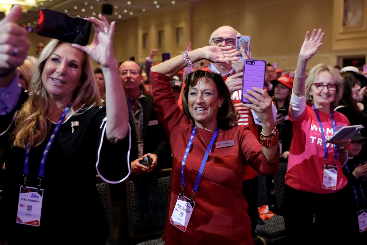 People cheer as President Trump speaks at the Conservative Political Action Conference annual meeting, March 2, 2019. (Photo: Yuri Gripas/Reuters)