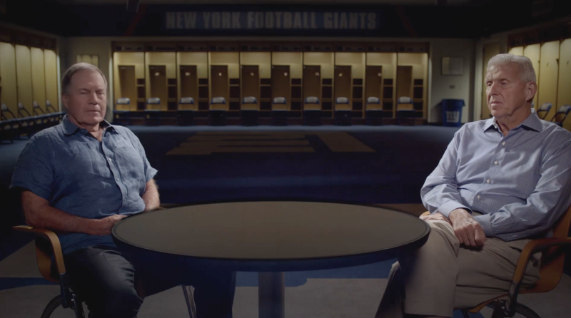 Bill Belichick and Bill Parcells opened up about football in a documentary. (Screenshot)