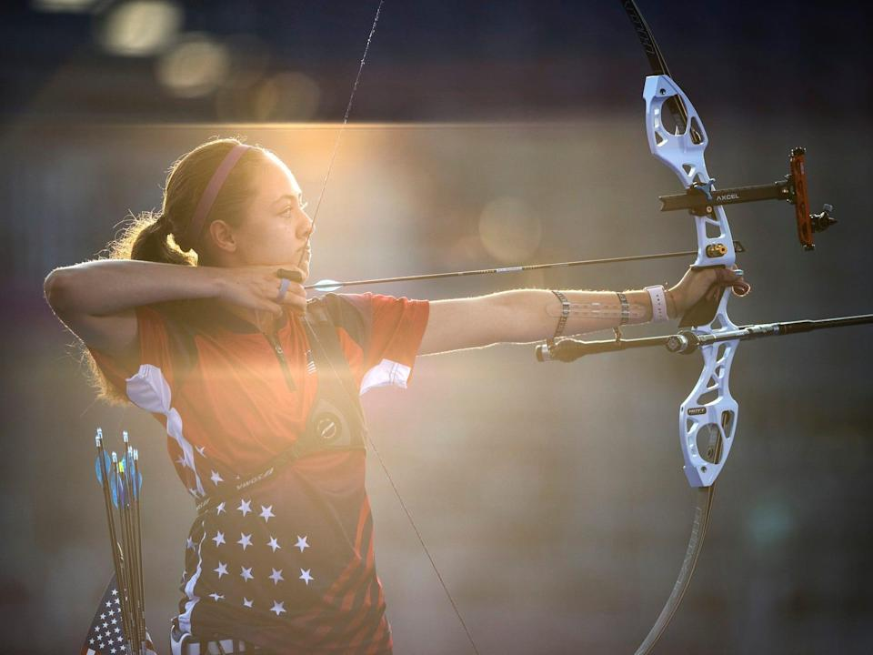 American archer Jennifer Mucino-Fernandez aims at sunset during the Tokyo Olympics