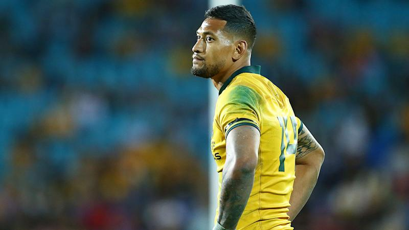 Pictured here, Israel Folau was sacked by Rugby Australia over his controversial social media posts.