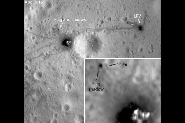 The photos from Lunar Reconaissance Orbiter (LRO) show the flags are still casting shadows - except the one planted during the Apollo 11 mission.