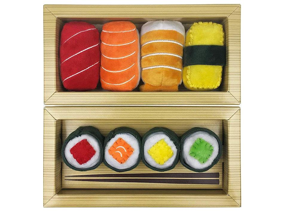 """<h3>Catnip Bento Box</h3><p>Crafted in small batches for high-quality freshness, the super-soft sushi toys inside this bento box are filled with organic catnip, crinkle paper, and bells.</p><br><br><strong>MunchieCat</strong> Sushi Toys Filled With Organic Catnip (Set of 8), $34.97, available at <a href=""""https://www.amazon.com/Sushi-Nigiri-Infused-Catnip-Bells/dp/B00CVNE29O/ref=sr_1_216"""" rel=""""nofollow noopener"""" target=""""_blank"""" data-ylk=""""slk:Amazon"""" class=""""link rapid-noclick-resp"""">Amazon</a>"""
