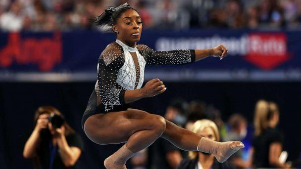 PHOTO: Simone Biles competes in the floor exercise during the Senior Women's competition of the U.S. Gymnastics Championships at Dickies Arena, June 6, 2021, in Fort Worth, Texas. (Jamie Squire/Getty Images)
