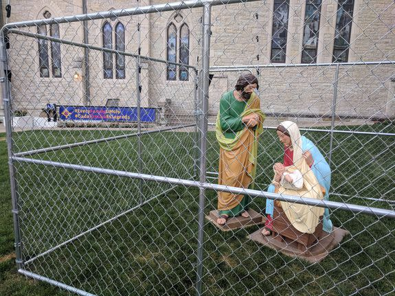 An Indiana church created this controversial display as a protest against Trump